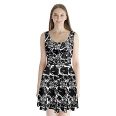 Skulls Pattern Split Back Mini Dress