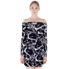 Skulls Pattern Long Sleeve Off Shoulder Dress