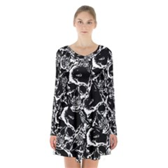 Skulls Pattern Long Sleeve Velvet V Neck Dress