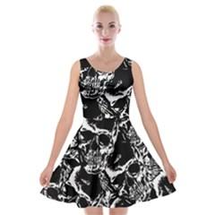 Skulls Pattern Velvet Skater Dress