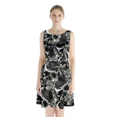 Skulls Pattern Sleeveless Waist Tie Chiffon Dress