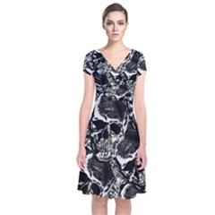 Skulls Pattern Short Sleeve Front Wrap Dress