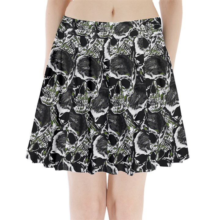 Skulls pattern Pleated Mini Skirt