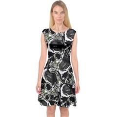 Skulls Pattern Capsleeve Midi Dress