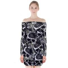 Skulls Pattern Long Sleeve Off Shoulder Dress