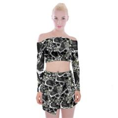 Skulls Pattern Off Shoulder Top With Skirt Set