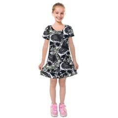 Skulls Pattern Kids  Short Sleeve Velvet Dress