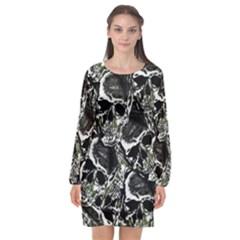 Skulls Pattern Long Sleeve Chiffon Shift Dress