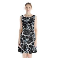 Skulls Pattern Sleeveless Waist Tie Chiffon Dress