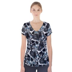 Skulls Pattern Short Sleeve Front Detail Top