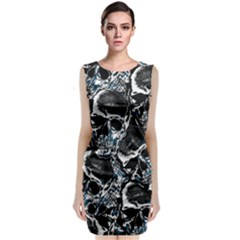 Skulls Pattern Sleeveless Velvet Midi Dress