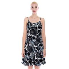 Skulls Pattern Spaghetti Strap Velvet Dress