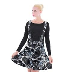 Skulls Pattern Suspender Skater Skirt