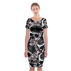 Skulls Pattern Classic Short Sleeve Midi Dress