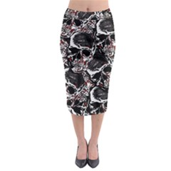Skulls Pattern Midi Pencil Skirt