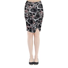 Skulls Pattern Midi Wrap Pencil Skirt