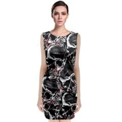 Skulls Pattern Sleeveless Velvet Midi Dress