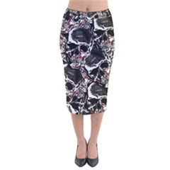 Skulls Pattern Velvet Midi Pencil Skirt