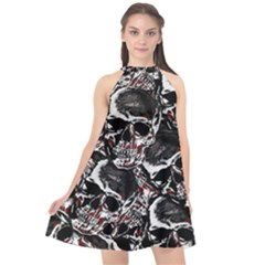Skulls Pattern Halter Neckline Chiffon Dress
