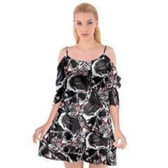 Skulls Pattern Cutout Spaghetti Strap Chiffon Dress