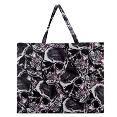 Skulls pattern Zipper Large Tote Bag