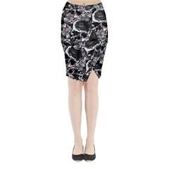 Skulls Pattern Midi Wrap Pencil Skirt