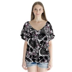 Skulls Pattern Flutter Sleeve Top