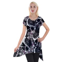 Skulls Pattern Short Sleeve Side Drop Tunic