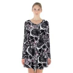 Skulls Pattern Long Sleeve Velvet V Neck Dress