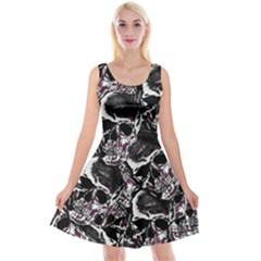 Skulls Pattern Reversible Velvet Sleeveless Dress