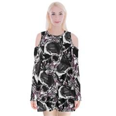 Skulls Pattern Velvet Long Sleeve Shoulder Cutout Dress
