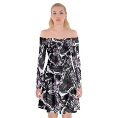 Skulls Pattern Off Shoulder Skater Dress