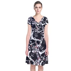 Skull Pattern Short Sleeve Front Wrap Dress