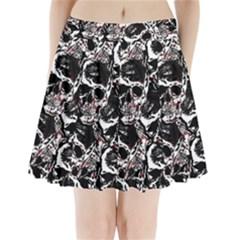 Skull Pattern Pleated Mini Skirt