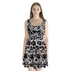 Skull Pattern Split Back Mini Dress