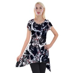 Skull Pattern Short Sleeve Side Drop Tunic