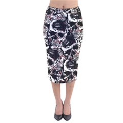 Skull Pattern Velvet Midi Pencil Skirt