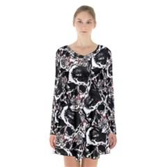 Skull Pattern Long Sleeve Velvet V Neck Dress