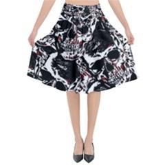 Skull Pattern Flared Midi Skirt