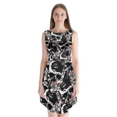 Skull Pattern Sleeveless Chiffon Dress
