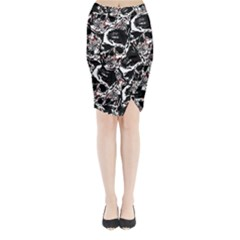 Skull Pattern Midi Wrap Pencil Skirt