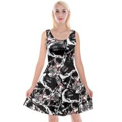 Skull Pattern Reversible Velvet Sleeveless Dress