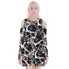 Skull Pattern Velvet Long Sleeve Shoulder Cutout Dress