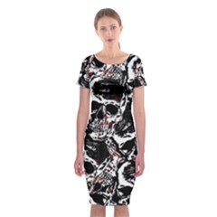 Skull Pattern Classic Short Sleeve Midi Dress
