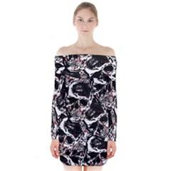 Skull Pattern Long Sleeve Off Shoulder Dress