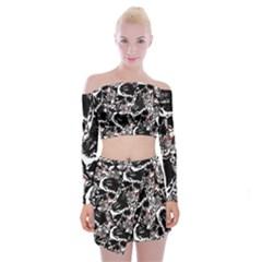 Skull Pattern Off Shoulder Top With Skirt Set