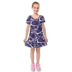 Skull Pattern Kids  Short Sleeve Velvet Dress