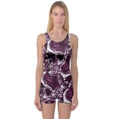 Skull pattern One Piece Boyleg Swimsuit