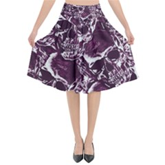 Skull Pattern Flared Midi Skirt