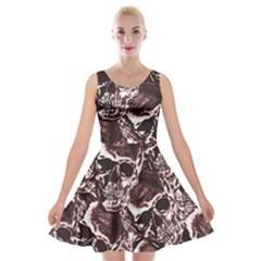 Skull Pattern Velvet Skater Dress